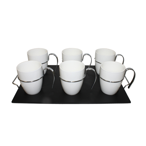 Royal Classic Set of Six 160ml Cups w/ Iron Handle and Wood Tray