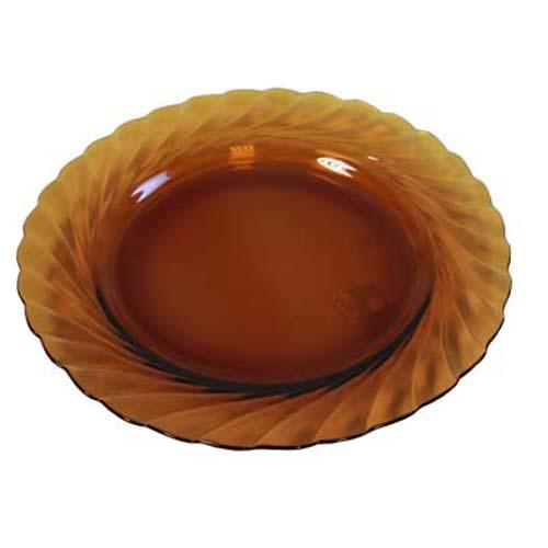"9.5"" Amber Round Glass Plate"