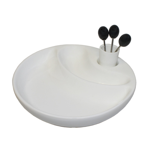 """Royal Classic 7"""" Round Two-Section Sampling Plate With Forks"""