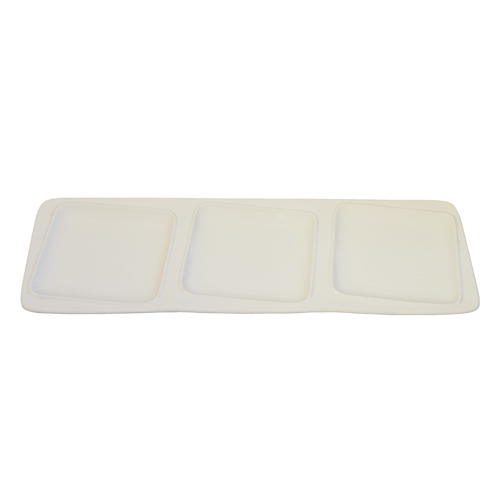 "Royal Classic 13x4.5"" Rectangle Plate With Three Square Inset"