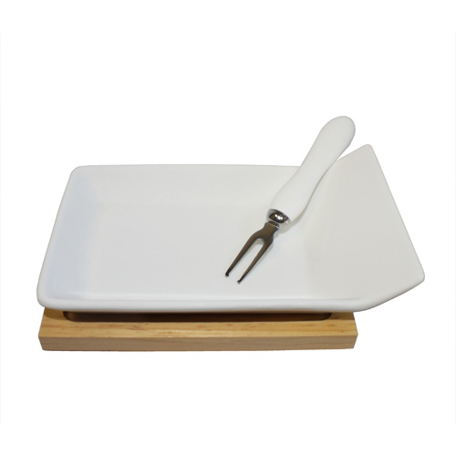"Royal Classic 6x3.75"" Tasting Plate With Wood Base and  Mini Fork"