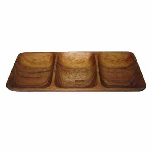 "4.75x12"" Wood 3-Section Rectangle Sampling Plate"