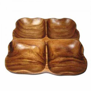 """9.5"""" Square 4-Compartment Wood Platter"""