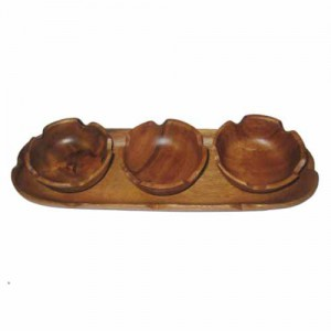 Three Round Wood Bowls with Serving Tray