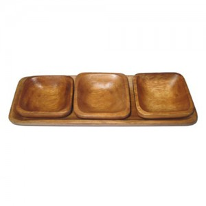 Square Wood Bowl with Tray Set