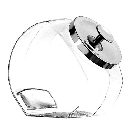 Glass Penny Jar with Chrome Cover