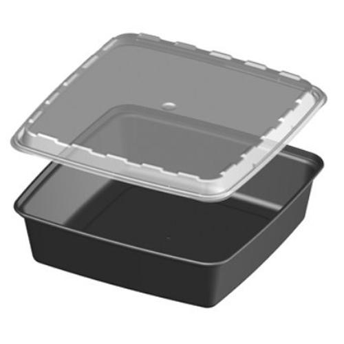 Cube CR-1047 48 oz. Black Square Take-Out Box - 150 Sets