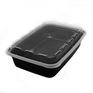 Cube CR-815 16 oz. Black Rectangle Take-Out Box - 150 Sets