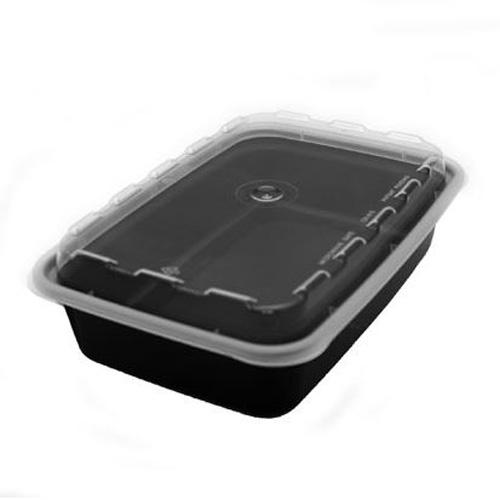 Cube CR-815 16 oz. Black Rectangle Take-Out Box - 150 Sets
