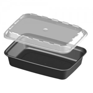 Cube CR-927 28 oz. Black Rectangle Take-Out Box - 150 Sets