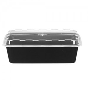 Cube CR-937 38 oz. Black Rectangle Take-Out Box - 150 Sets