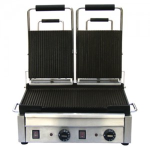 "10x18"" Double Ribbed Panini Grill"