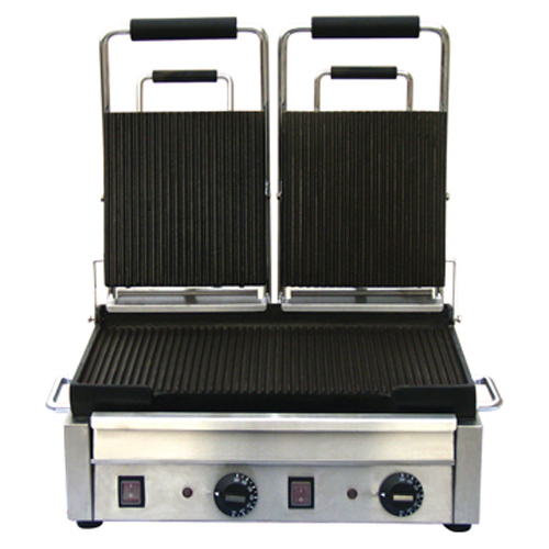 """10x18"""" Double Ribbed Panini Grill"""