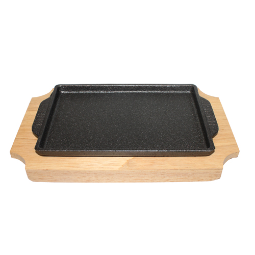 Rectangle Cast Iron Grill Pan with Wood Base