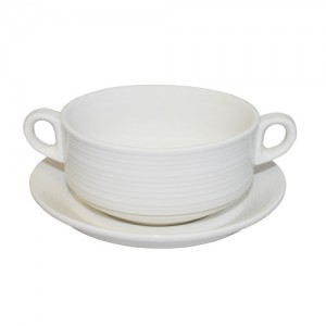 "Royal Classic 4.25"" Double Handle Swirl Soup Bowl With 5.75"" Saucer"