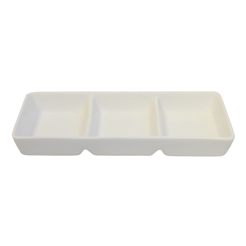 "Royal Classic 6.5x2.25"" Three Compartment Rectangle Ramekin"