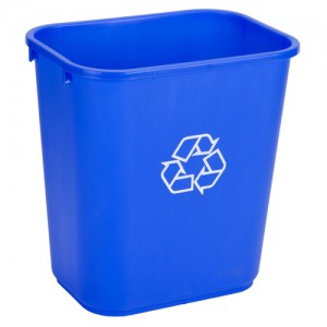 28 QT. Blue Recycle Trash Can