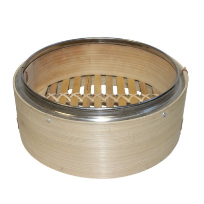 "6.5"" Bamboo Steamer with Metal Rim"