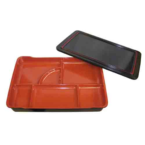 6-Compartment Rectangle Bento Box with Lid