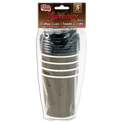 5-Pack 8 oz. Disposable Coffee Cups with Lids