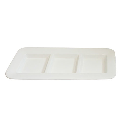 "Royal Classic 15x6.25"" Offset Three Compartment Rectangle Platter"