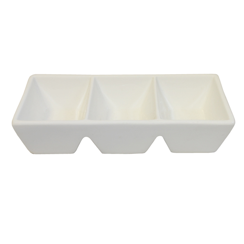 "Royal Classic 6x2.75"" Three Compartment Tall Sauce Dish"
