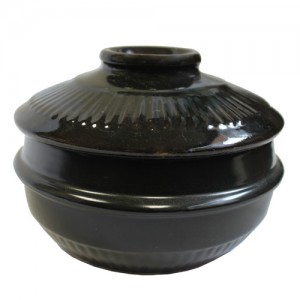 Black Korean Clay Stone Bowl with Lid