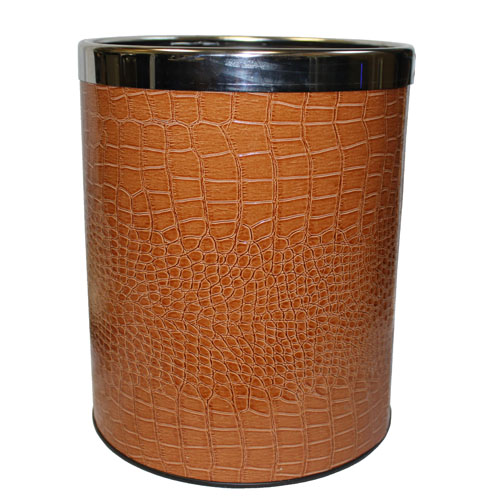 Trash Bin in Assorted Faux Leather Finish