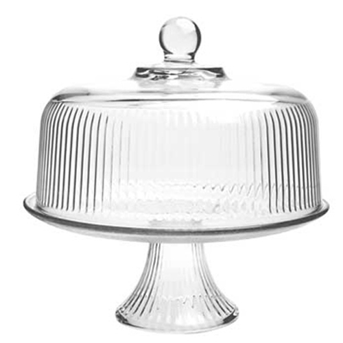 Monaco Glass Cake Stand with Ribbed Cover