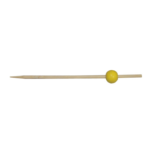 50-Pack 12CM Yellow Round Bead Skewers