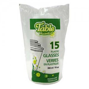 15-Pack 10 oz. Clear Disposable Plastic Cup