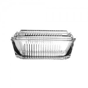 """6.75x4"""" Frigo Glass Butter Dish"""