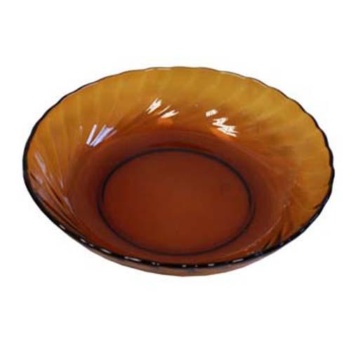 """8"""" Amber Round Glass Bowl"""