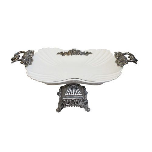 "Royal Classic 17x10.5x7"" Porcelain Footed Serving Plate with Metal Accents and Double Handle"