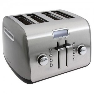 KitchenAid Contour Silver 4-Slice Toaster with LCD Display