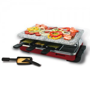8-Person Raclette Party Grill with Granite Stone