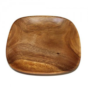 "8"" Square Round Edge Wood Plate"