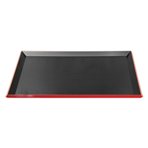 Black Rectangle Tray with Red Trim