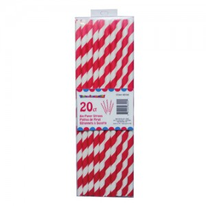 20-Pack Red and White Stripe Paper Straws