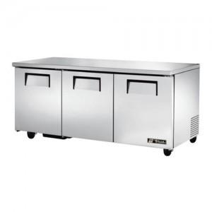 "True 72"" 3-Section Reach-In Undercounter Refrigerator"