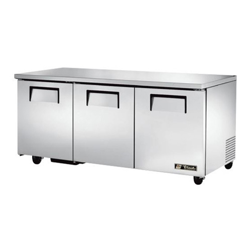 "True 72"" 3-Section Reach-In Undercounter Refrigerator"