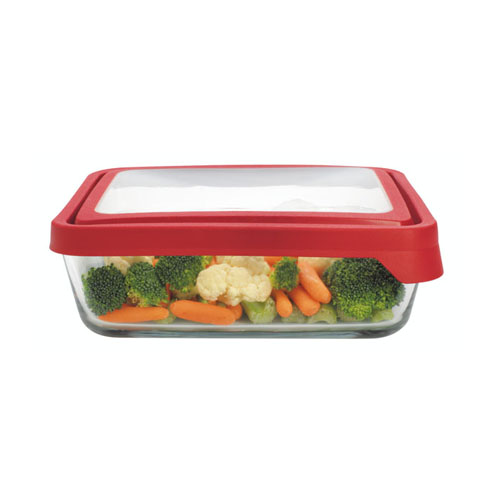 2.6L Rectangle Glass Food Container with Red Trueseal Lid