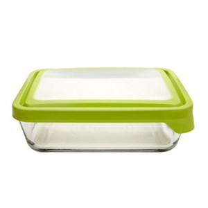 2.6L Rectangle Glass Food Container with Green Trueseal Lid