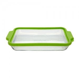 3L Rectangle Glass Food Container with Green Trueseal Lid