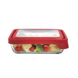 1.5L Rectangle Glass Food Container with Red Trueseal Lid