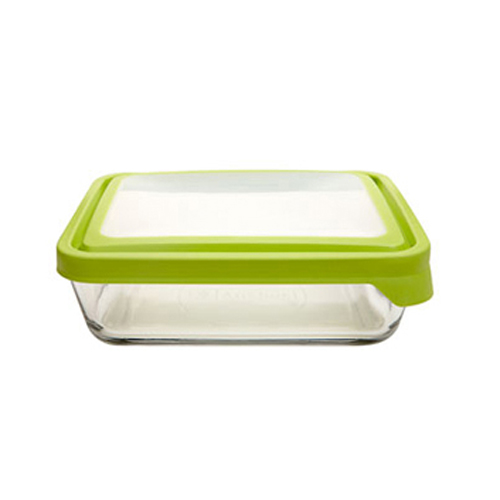 1.5L Rectangle Glass Food Container with Green Trueseal Lid