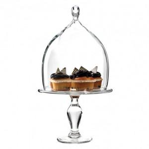 2-Piece Glass Teardrop Cake Stand