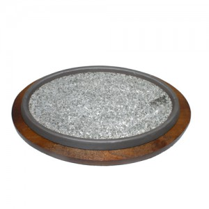 "11"" Oval Stone Sizzling Plate with Wood Base"