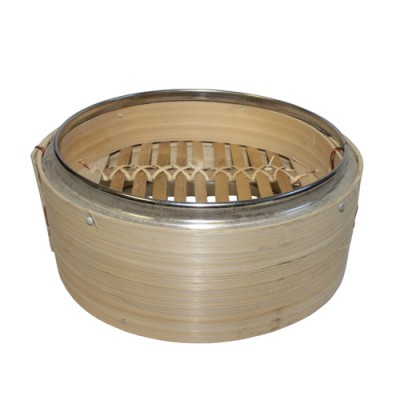 "6.5"" Bamboo Steamer with Metal Rim and Shallow / Raised Platform"