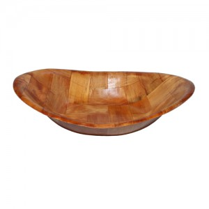 "9x7"" Oval Woven Wood Bowl"